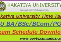 Kakatiya University Time Table 2020