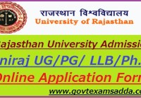 Rajasthan University Admission Form 2019