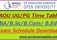 BAOU Time Table 2020