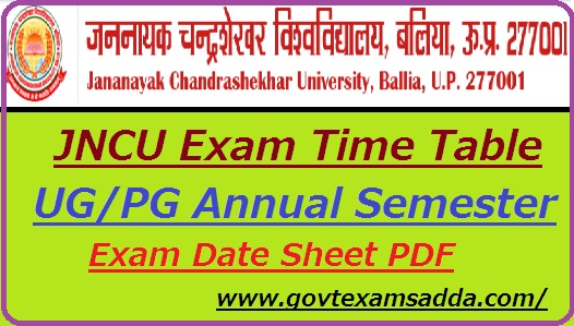 JNCU Time Table 2019