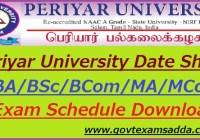 Periyar University Date Sheet 2020
