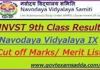 Navodaya Vidyalaya 9th Class Entrance Exam Result 2021