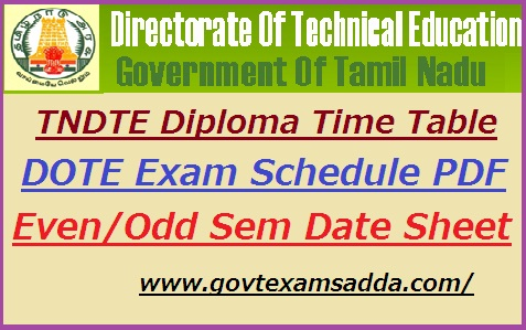 TNDTE Diploma Time Table 2020