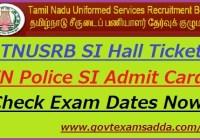 TNUSRB SI Hall Ticket 2019-20
