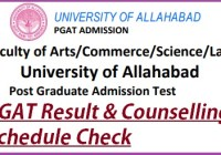 Allahabad University Entrance Exam PGAT Result 2020