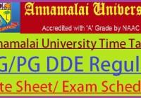 Annamalai University Time Table 2021
