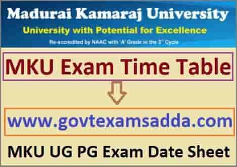 MKU Exam Time Table 2021