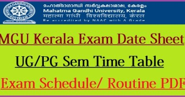 MG University Time Table 2021