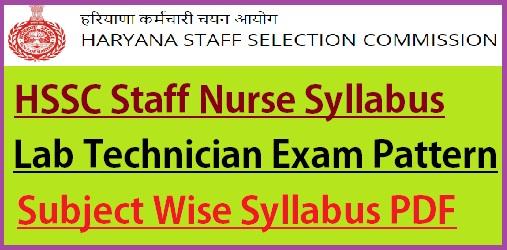 HSSC Staff Nurse Syllabus 2021