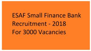 esaf bank recruitment 2018
