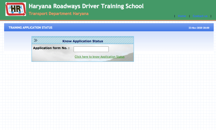 Haryana Roadways Driver Training Application form Status