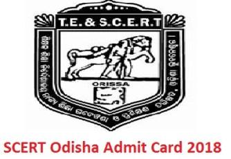 SCERT Odisha Admit Card 2018