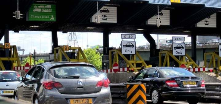 Cars going through Dartford crossing toll