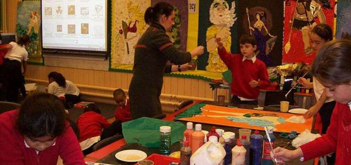 Primary school classroom art lesson