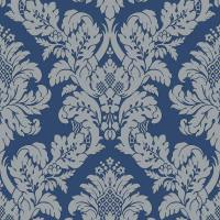Pear Tree Fabric Damask Blue/Silver Glitter Wallpaper