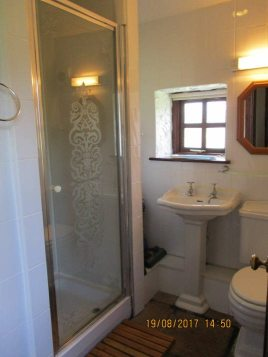The shower room in Creek Cottage, Rhossili