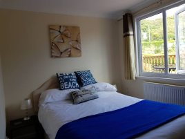 The double bedroom at Sea Breeze Apartment 2 self-catering accommodation, Horton, Gower