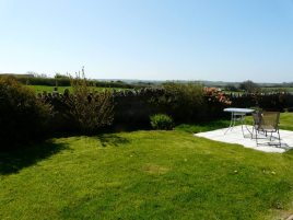The front garden patio at White Stile bed and breakfast, Knelston, Gower