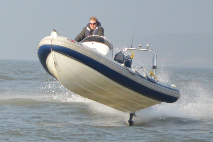 The big jump in the power boat at Swansea Watersports, Swansea