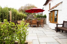 The external seating area at The Bower Cottage self-catering cottage, Port Eynon, Gower