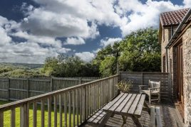 The decking at The Tractor House holiday cottage, Llethryd, Gower near Swansea