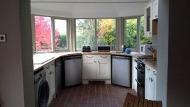 The kitchen at Brook Cottage holiday accommodation, Reynoldston, Gower