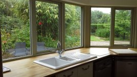 The kitchen at Brook Cottage self-catering accommodation, Reynoldston, Gower