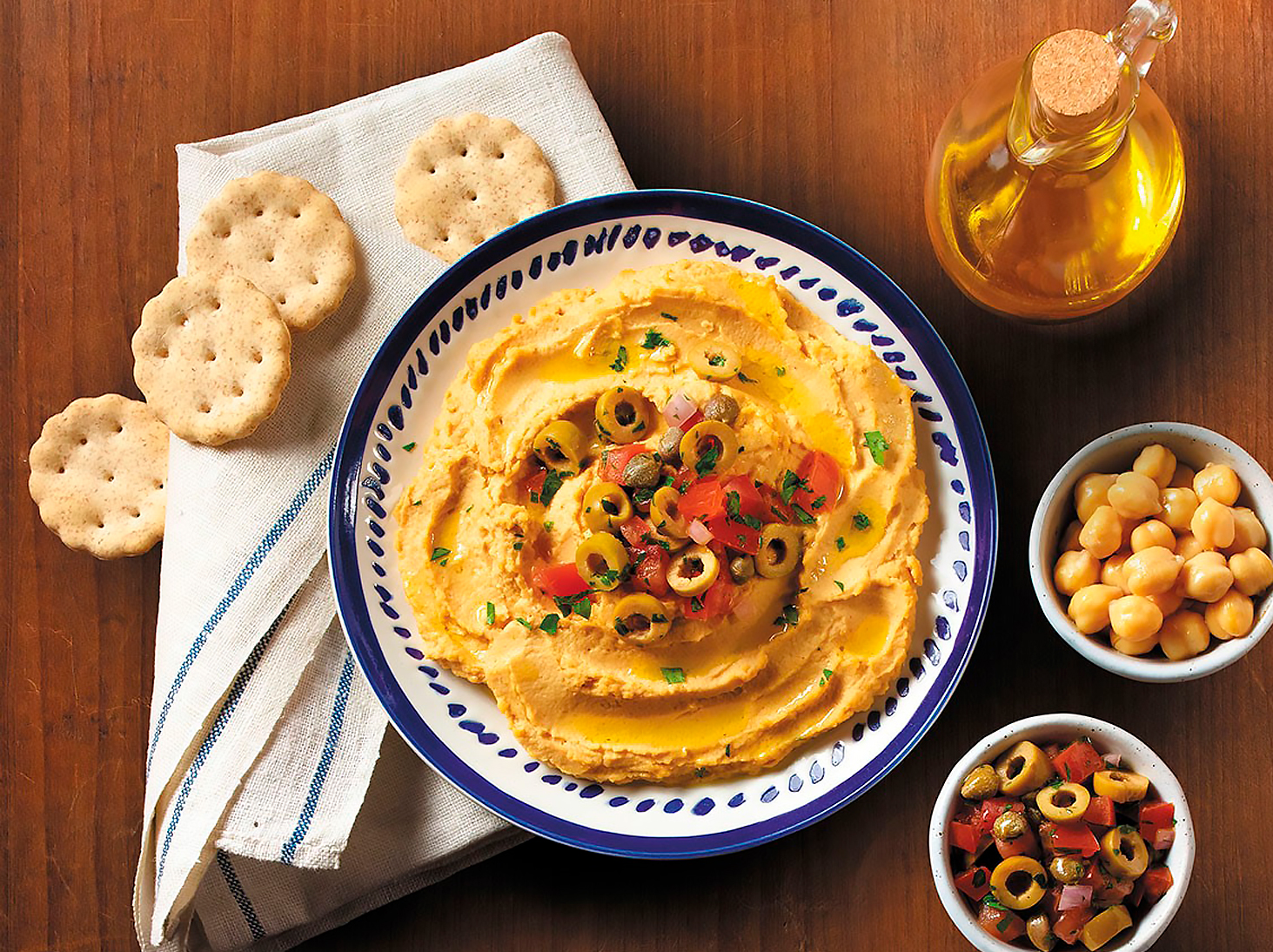 homemade hummus with olive