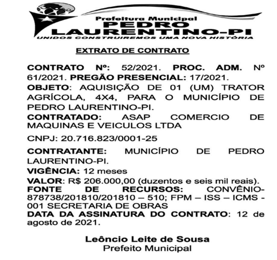 Prefeito Leo Leite aluga trator por R$ 206 mil em Minas Gerais