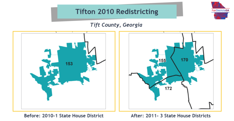 The city of Tifton is one of many Georgia cities split across multiple state House districts after lawmakers gerrymandering boundaries.