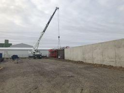Construction du mur entourant la zone