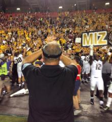 Mizzou Football Head Coach Gary Pinkel thanks fans after a victory on the road in South Carolina.