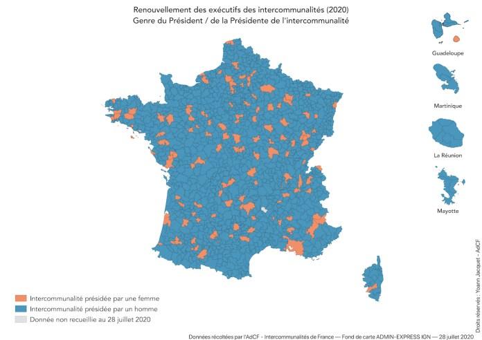 Carte des intercommunalités françaises par genre