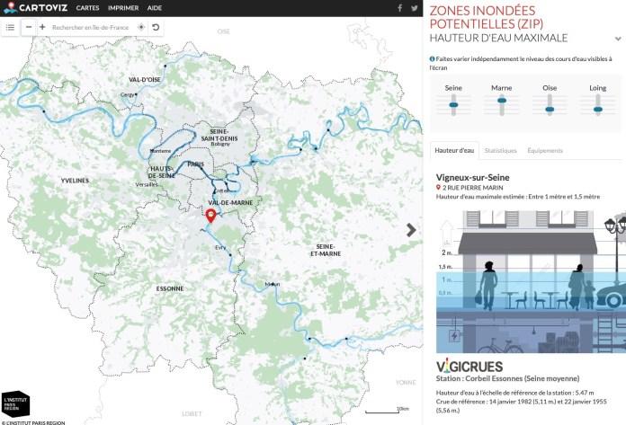 Carte Inondation Institut Paris région