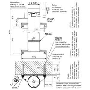 Haacon Davit Socket Floor/Wall Mount (21579) 360kg/550kg