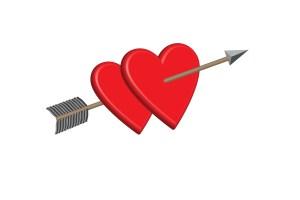 Cupid's Arrow and Hearts
