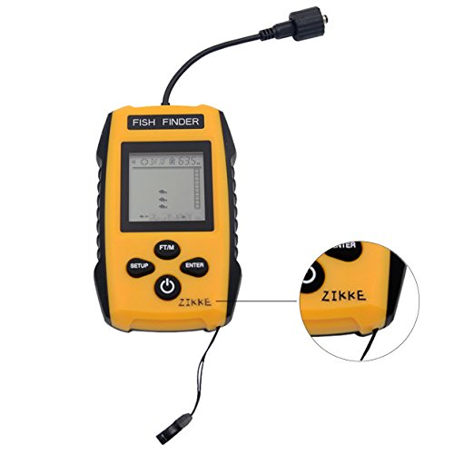 Upgrade Outdoor Portable Fish Finder Zikke Fishfinder Tackle Fishes With Wired Sonar Sensor Alarm Transducer And Lcd Display Depth Finders For Fishing By Pool Rivers Lakes Seas And Oceans