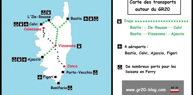 Résumé des transports pour rejoindre le départ du GR20 en Corse