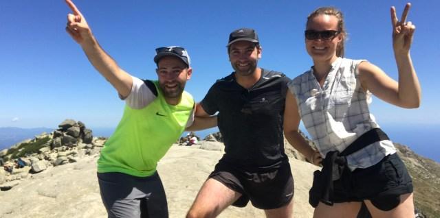 Avec deux compagnons de marche Aurélien et Mathieu au col