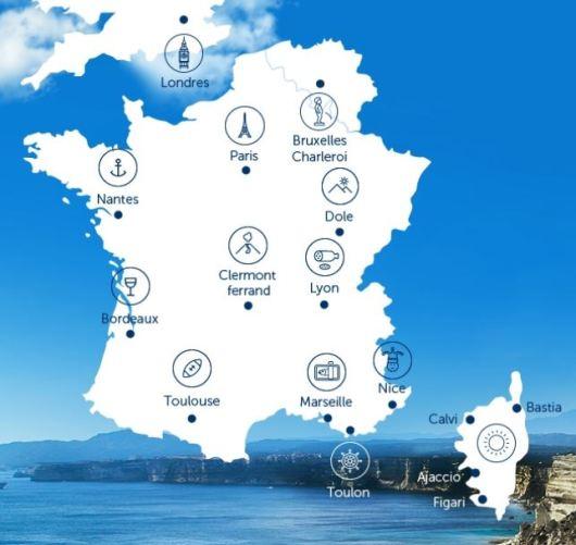Carte des destinations Air Corsica