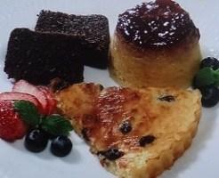 チョコレートケーキとパンプディング、タルト