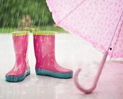 雨、長靴、傘