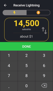 Wallet of Satoshi Amount to Receive