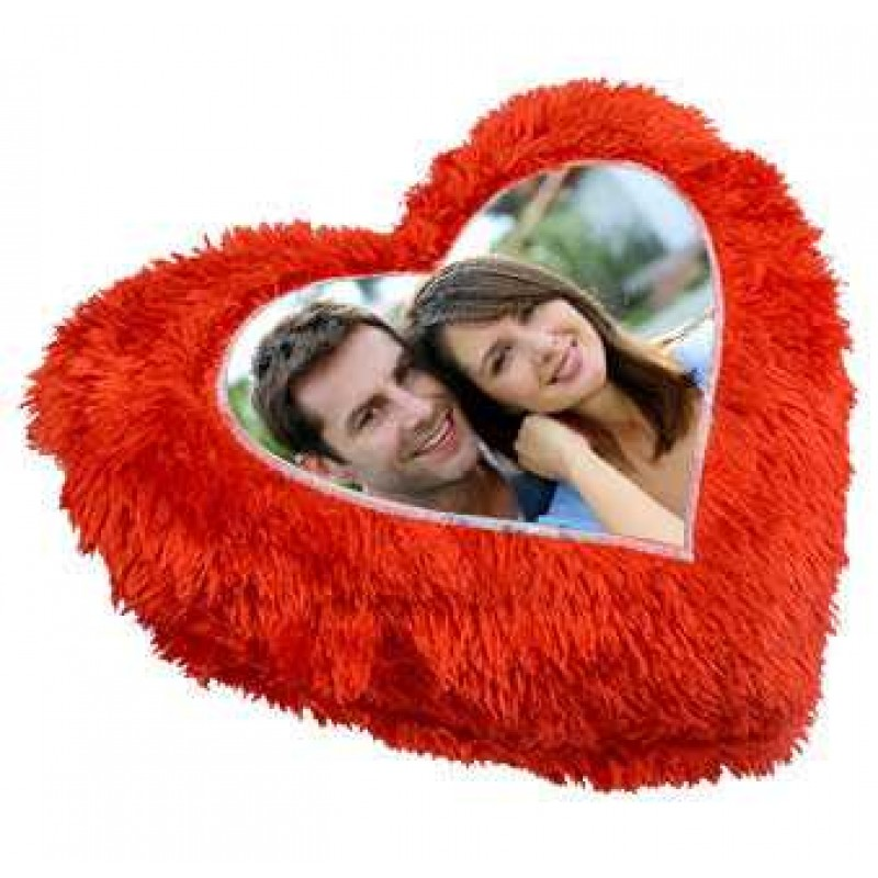 Buy Red Heart Fur Pillow With Personalized Photo Online at