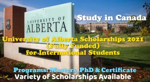 University of Alberta Scholarships 2021