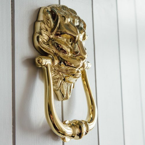 small resolution of large lions head door knocker brass