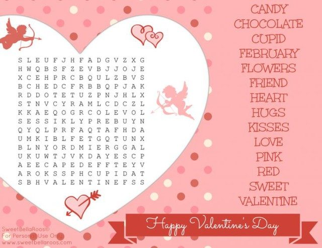 Free Valentine's Day Word Search Printable- Sweet Bella Roos