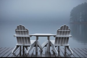 lake and chairs