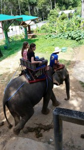 Emma enjoying an elephant adventure with mk Jasmine Speight.