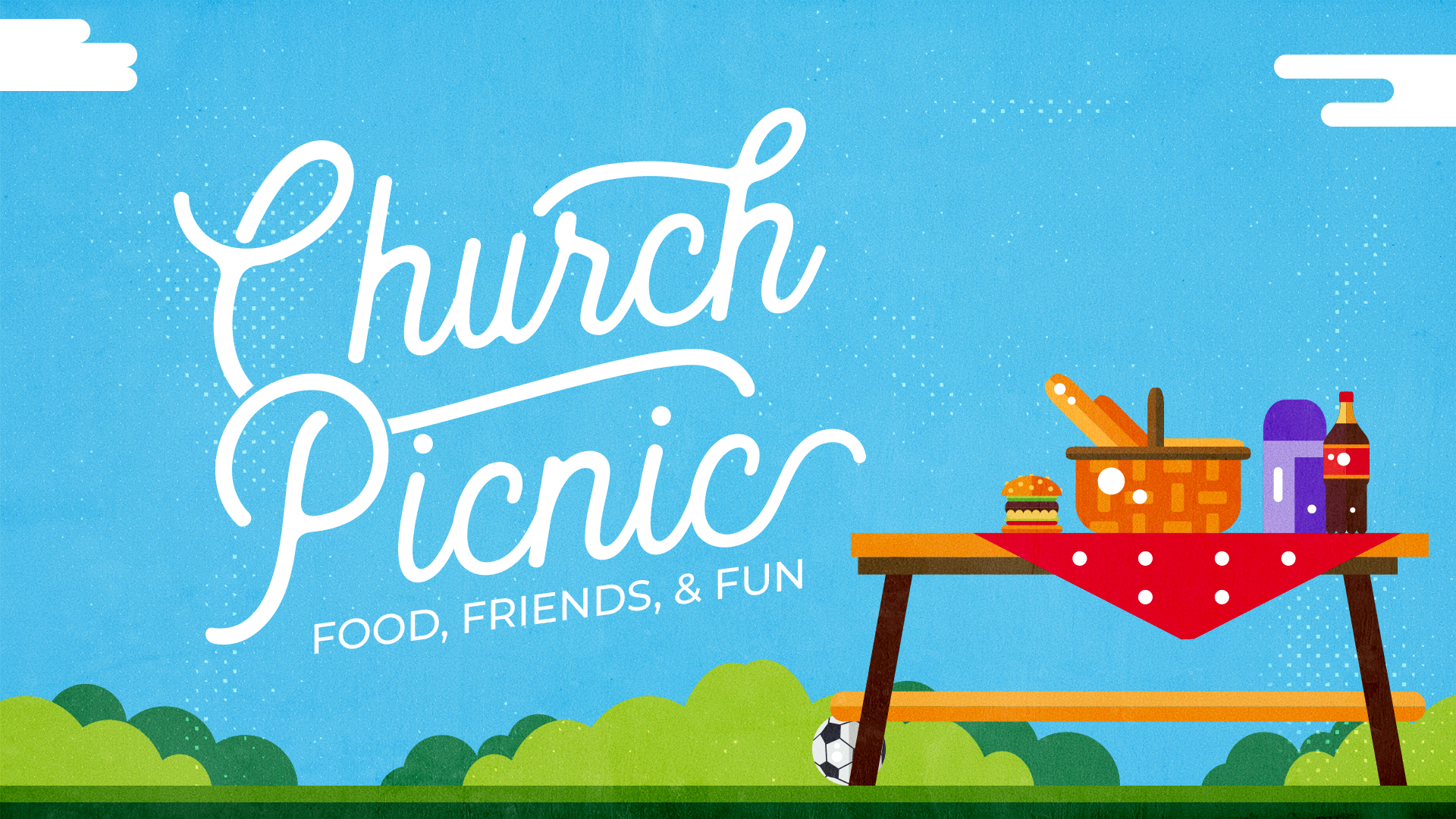 Church Picnic graphic - Food, Friends, and Fun